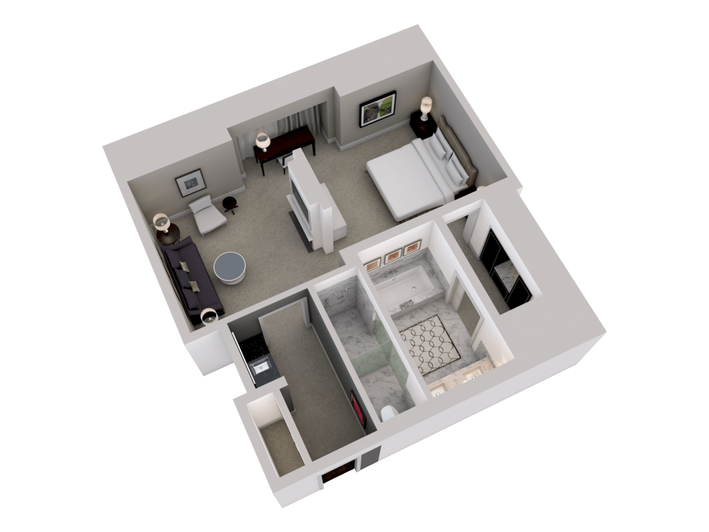 3d floor plans rooms suites waldorf astoria chicago for 3d salon floor plans