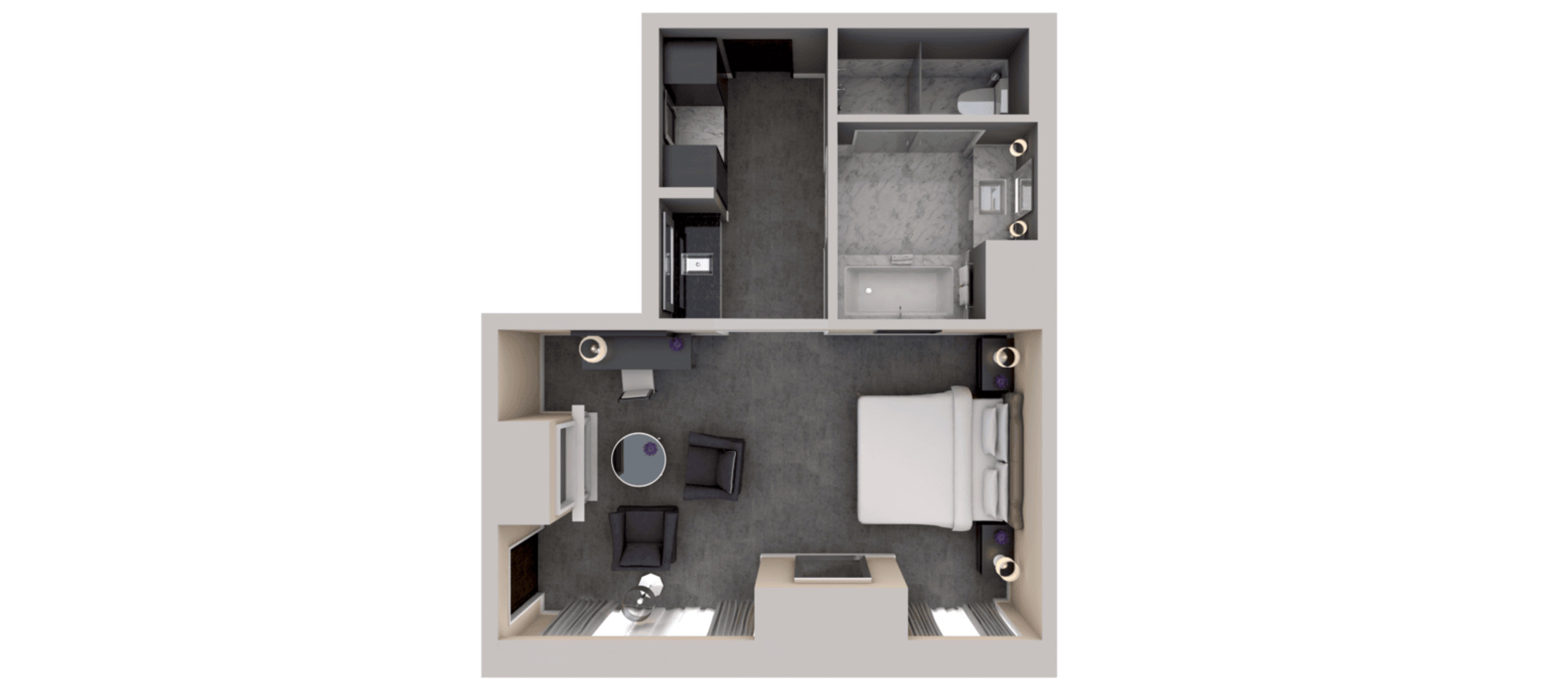 Deluxe Room - One King Bed Floorplan