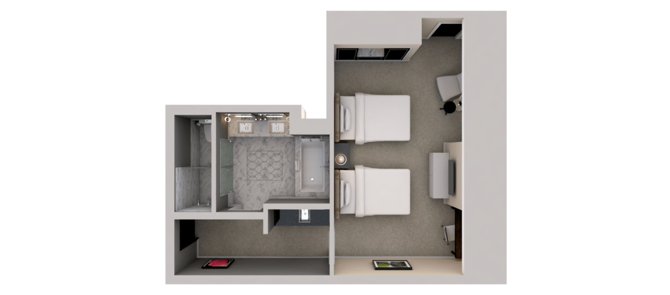 Deluxe Room - Two Queen Beds Floorplan
